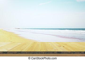 banc bois, plage
