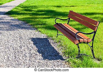 banc, dans parc, sur, a, fond, de, herbe