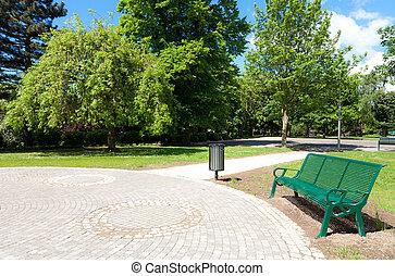 banc, dans, parc vert