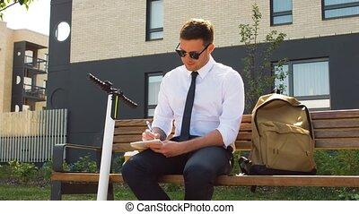 banc, homme affaires, cahier, séance, écriture