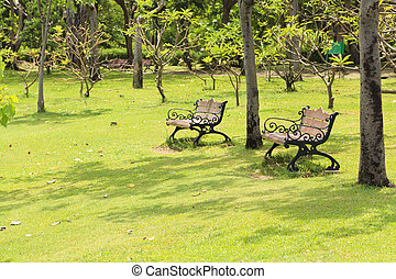 banc, jardin