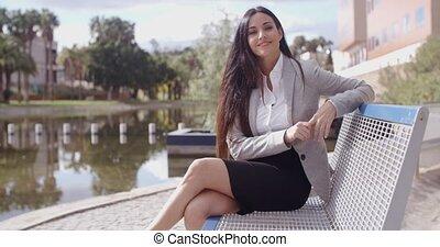 banc, magnifique, affaires femme, séance