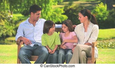 banc, parc, famille, séance