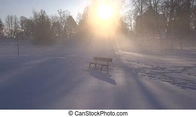 banc, parc, hiver, neige