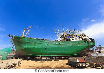 banc prévenus sec, bateau, overhaul., pendant