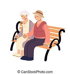banc, séance, vieux, couple