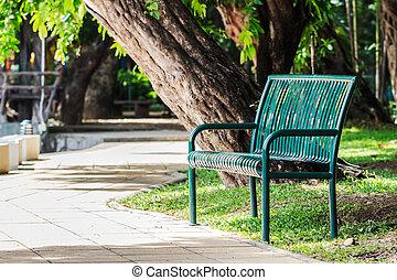 banc, vert, jardin, metalliic