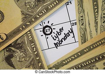 banca, calendario, marcato, data, nota