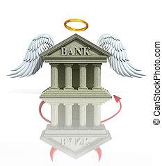 banca, concepto, problemas, 3d