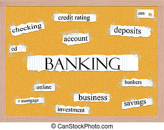 banca, corkboard, palabra, concepto