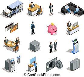 banca, elementi, set, isometrico, icone