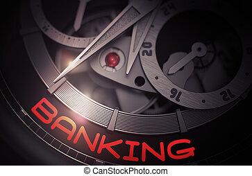 banca, en, el, vendimia, reloj, mechanism., 3d.