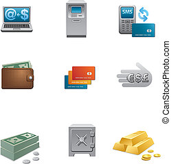 banca, icono, conjunto