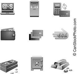 banca, icono, conjunto, grayscale