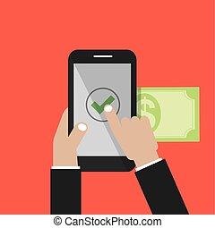 banca, manos, ilustración, teléfono, vector, internet, utilizar, elegante