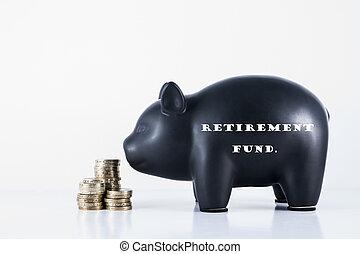 banca, pensionamento, piggy