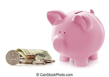 banca piggy, con, soldi