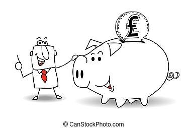 banca piggy, e, sterlina