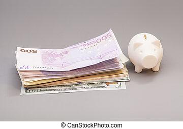 banca piggy, fondo, grigio, banconote