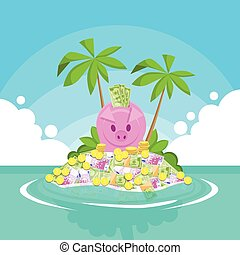 banca piggy, pieno, di, soldi, isola tropicale, palma,...