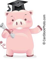 banca piggy, robot, mascotte, laureato, illustrazione