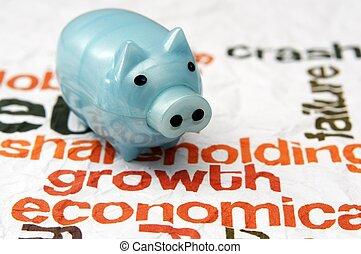 banca piggy, su, crescita, economia, concetto