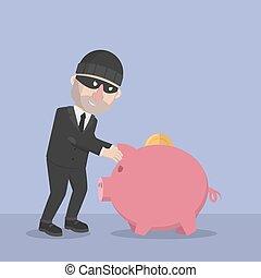 banca, rubare, piggy, uomo affari