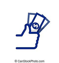 banca, simbolo, su, vettore, like/thumbs, icona