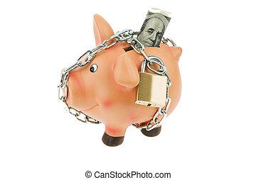 banca, soldi, dollaro, piggy, catena