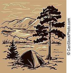 banca, turista, fra, colline, naturale, bello, montagna, alto, tenda, paesaggio., fiume