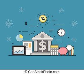 banca, y, empresa / negocio, en, invierno, fondo., financiero, market., seguro, transacciones, y, pagos, protección, el, garantía, seguridad, de, financiero, depósitos, transacciones, y, ahorros, depósitos