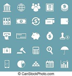 bancario, icone, su, sfondo blu