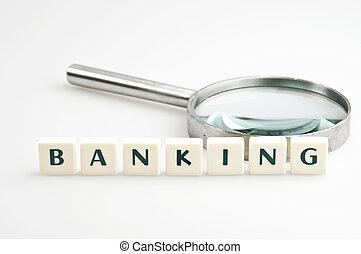 bancario, parola, e, lente ingrandimento