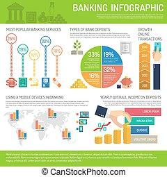 bancario, set, infographics