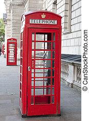 bancas, telefone, Inglaterra, dois, Reino Unido, Londres, vermelho