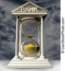 banche, correndo, fuori, tempo