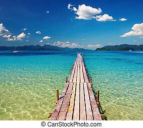banchina, legno, paradiso, tropicale