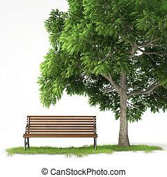 banco, árbol, aislado, debajo
