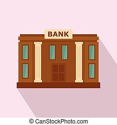 banco, ícone, apartamento, estilo