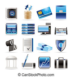 banco, ícones, negócio, finanças