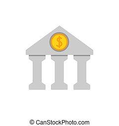banco, apartamento, ícone