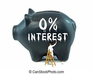 banco, cero, porcentaje, cerdito, interés