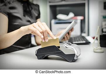 banco, computadora personal tableta, terminal