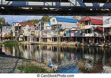 banco, dagomys, arriba, garajes, río, barcos pequeños, ...