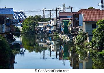banco, dagomys, arriba, garajes, rusia, río, pequeño, sochy...