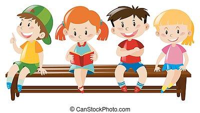 banco de madera, niños, cuatro, sentado
