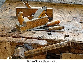 Banco de trabajo, de madera, Ebanistería, Cinceles, tornillo, artesano, aviones, dentro, fabricante