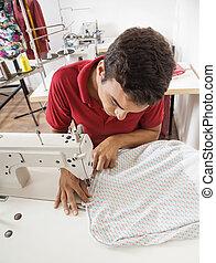 banco de trabajo, sastre, costura, tela, fábrica