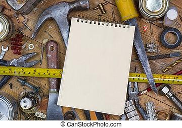 banco de trabajo, viejo, espacio, texto, -, desordenado, herramientas