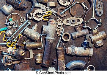 banco de trabajo, viejo, suministro, metal, agua, partes, tabla